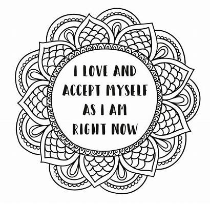 Coloring Self Pages Affirmation Sheets Sheet Positive