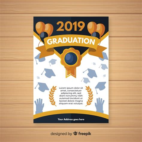 Graduation invitation template flat design Nohat Free