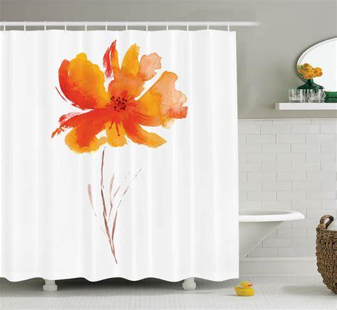 Watercolor Flower Decor Shower Curtain Set Single Poppy