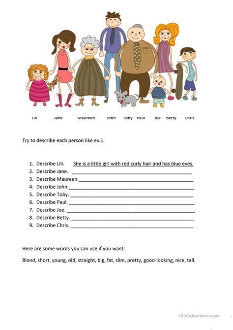 describe  family english esl worksheets  distance