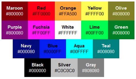 color codes hex web colors web design