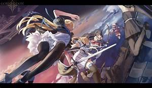 Anime, Girls, Anime, Long, Hair, Weapon, Sword, Pantyhose, Knee, Highs, Skirt, Black, Dress, Blonde