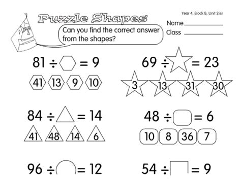 Shape Algebra A Year 4, Division Worksheet