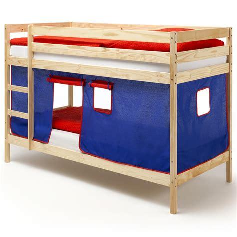 lit superpos 233 s en pin vernis naturel felix avec rideaux bleu mobil meubles