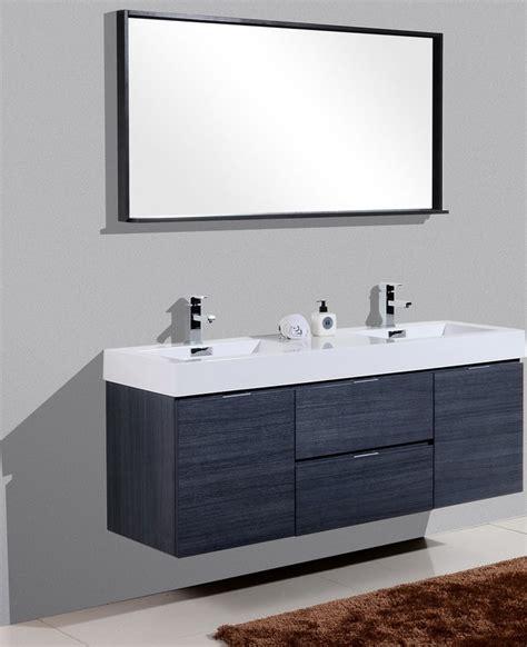 bliss 60quot high gloss gray oak wall mount double sink vanity