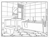 Coloring Bathroom Adults sketch template