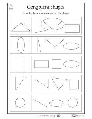 Geometric Shapes Kindergarten Worksheets  Worksheets Shape And The On Pinterest1000 Images