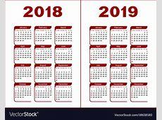 Calendar 2018 2019 Royalty Free Vector Image VectorStock
