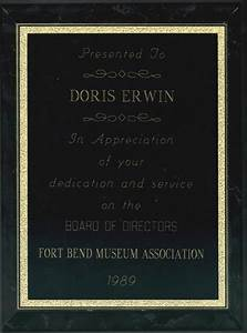 Physical Description Plaque To Doris Erwin For Her Dedication And Service To