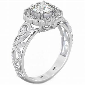 Sterling silver cubic zirconia filigree wedding engagement for Sterling silver cubic zirconia wedding rings