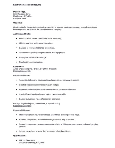 professional electronic assembler resume template