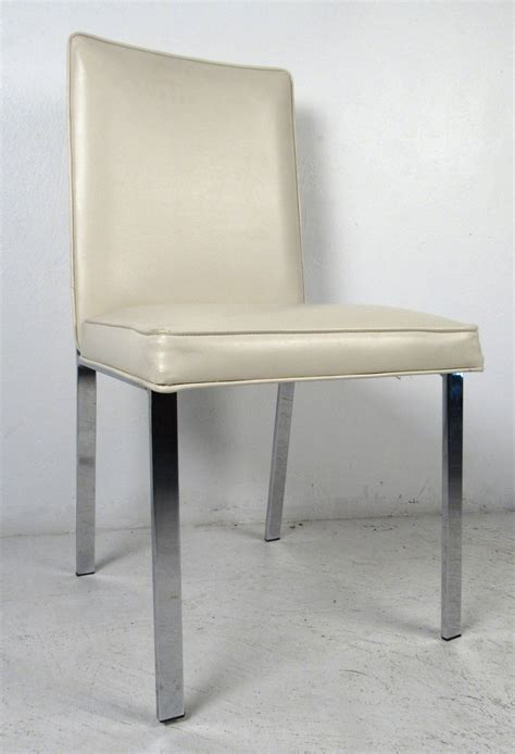 set of four chrome and vinyl dining chairs at 1stdibs