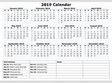 Yearly Printable Calendar 2019 With Singapore Holidays