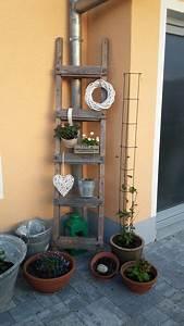 Wanddeko Für Garten : die besten 25 leiter deko ideen auf pinterest rustikale ~ Watch28wear.com Haus und Dekorationen