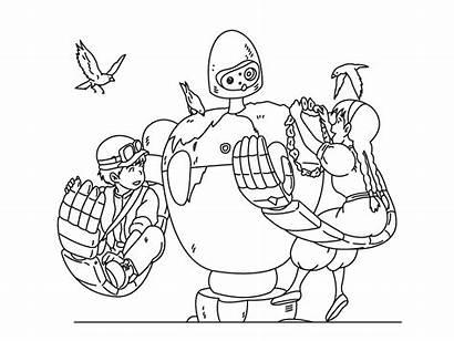 Sky Castle Stamps Ghibli Illustration Dribbble Lineart
