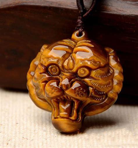 hand  natural tiger eye stone pendant gold tiger head