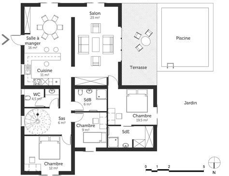 plans maisons plain pied 3 chambres plan maison moderne avec piscine ooreka