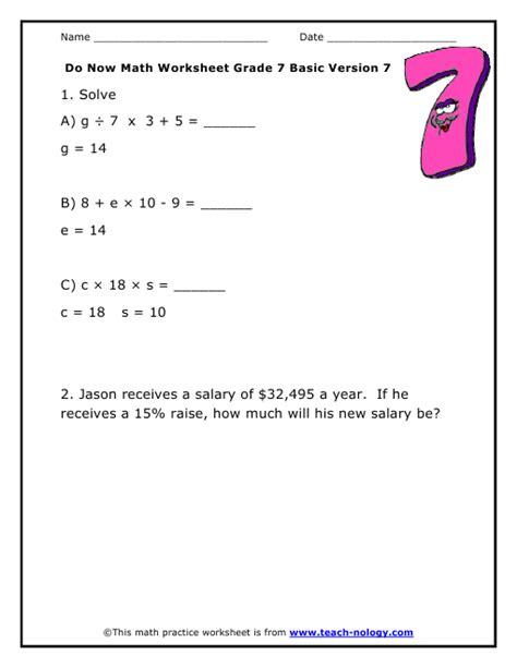 Do Now Math Grade 7 Basic Version 7