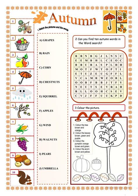 fall worksheets for elementary school 58 free esl autumn worksheets