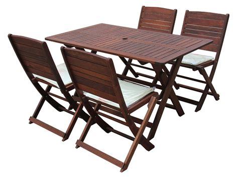 tables pliantes en bois salon de jardin en bois exotique table pliante 135 x 80 x h74 cm 6 chaises pliantes 60621