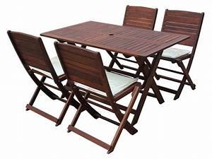 Table Jardin Bois Pliante : salon de jardin en bois exotique table pliante 135 x 80 x h74 cm 6 chaises pliantes 60621 ~ Teatrodelosmanantiales.com Idées de Décoration