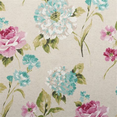 Floral Drapery Fabric by Watercolour Floral Tartan Check Linen Cotton Panama