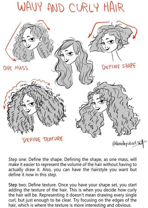 wavy  curly hair   draw art reference
