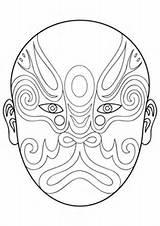 Mask Chinese Opera Coloring Pages Drawing Printable Mayan Phantom Goalie Para Masks Mascaras Colorear Africanas Imprimir Beijing Supercoloring Template Pesquisa sketch template