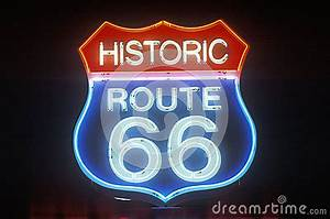 Historic Route 66 Neon Sign Royalty Free Stock