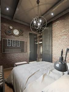 Dark, Color, For, Small, Apartment, Interior, Design, With, Exposed, Brick, Walls