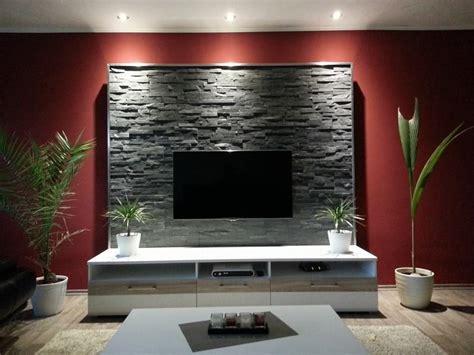 Steinwand Mit Tv by Steinwand Mur Interieur Living Room Decor
