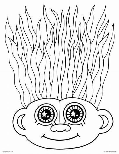 Coloring Crazy Hair Pages Troll Wacky Haircut