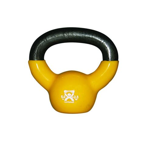 kettlebell yellow coated vinyl lb cando weights