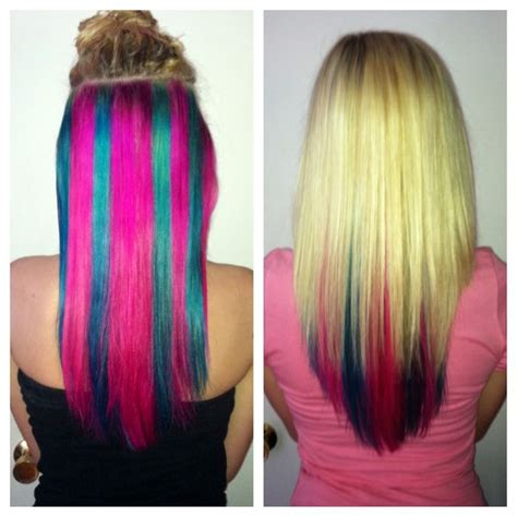 Blonde Hair With Blue And Pink Underneath Get This Look