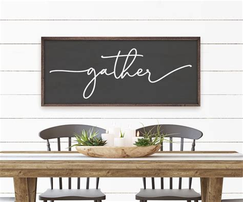 And, finally, decor for dining room walls can be just of one style. CLASSIC STYLE Gather Sign | Dining room sign | Kitchen wall art | Nook decor | Rustic style is ...