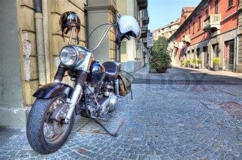 Motorcycle On The Street Alba, Italy
