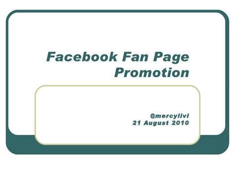 Facebook Fan Page Promotion