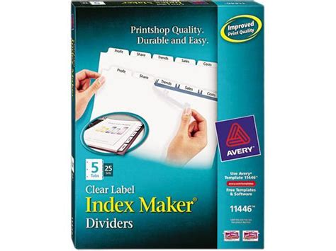 avery 11446 maker clear label dividers 5 tab