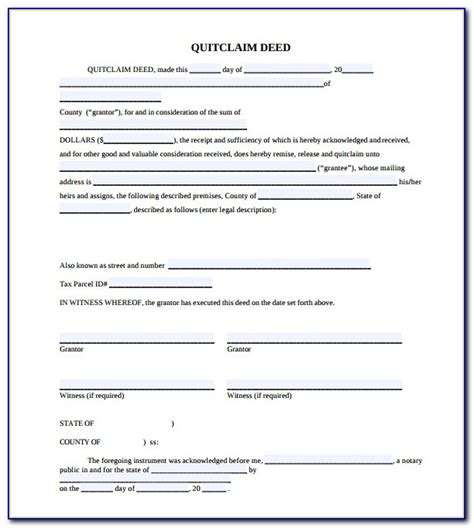 quit claim deed forms templates template lab