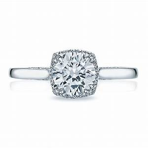 Tacori engagement rings dantela diamond halo setting 013ctw for Wedding rings tacori