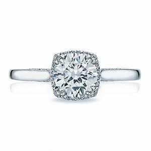Tacori engagement rings dantela diamond halo setting 013ctw for Wedding ring tacori