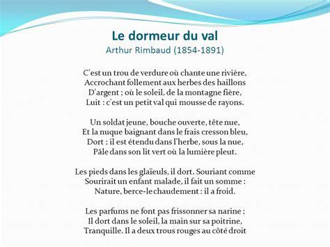 Le Dormeur Du Val D Arthur Rimbaud by Fran 231 Ais 9 Madame Lisette Valotaire 201 Cole Du Carrefour Ppt
