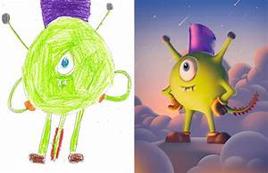 Kids Timeline Project 100 Artists Recreate Kids Monster Doodles In Their