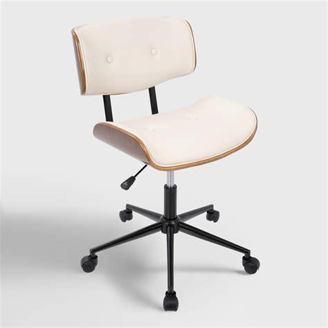 cream faux leather leander swivel office chair world market
