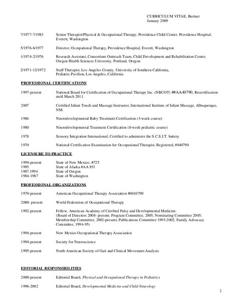 Curriculum Vitae Occupational Therapist by Complete Curriculum Vitae