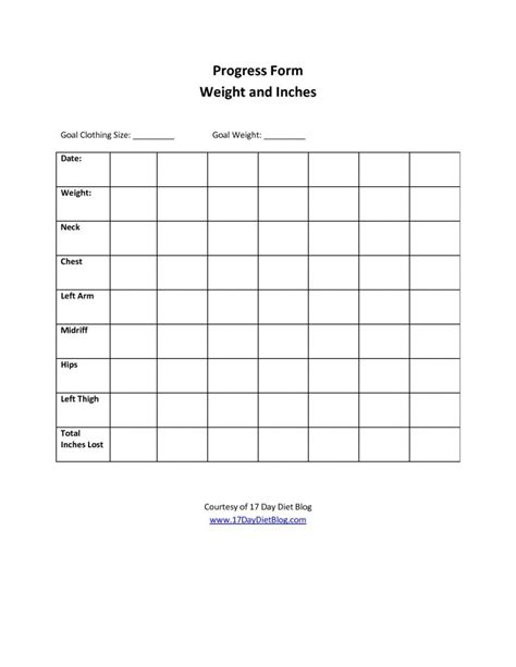 Weekly Weight Loss Chart Template by 7 Best Images Of Printable Weight Loss Progress Chart