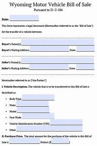 free wyoming motor vehicle bill of sale form pdf word With bill of sale document for vehicle