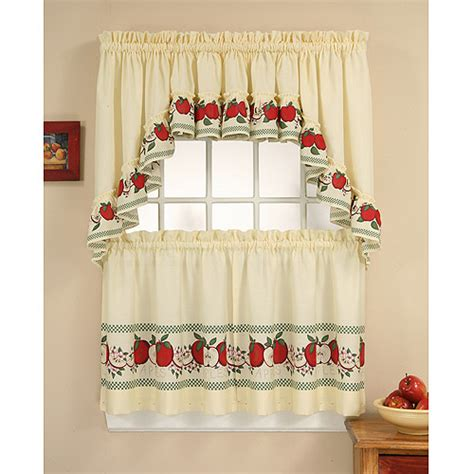 chf you red delicious tier curtain panel set walmart com
