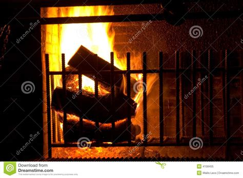 Fireplace With Burning Logs Royalty Free Stock Photo