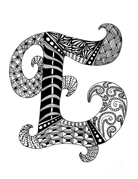 zentangle letter  monogram  black  white drawing